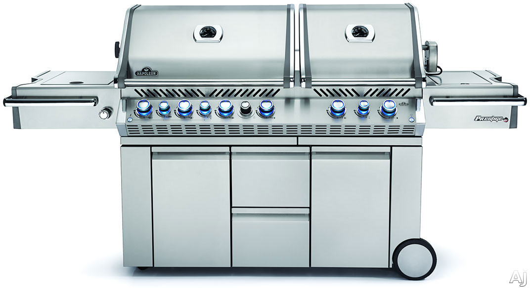 Napoleon Prestige PRO Series PRO825RSBINSS 95 Inch Freestanding Gas Grill with 1,385 sq. in. Total Cooking Area, Rear Infrared Burner, Rotisserie Kit, Power Side Burner, Wood Chip Smoker, Infrared SIZ