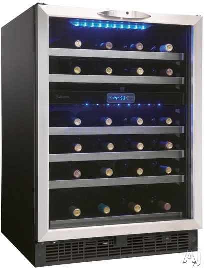 "Danby Silhouette Series DWC518BLS 24"" Built-in Dual Zone Wine Cellar with 51-Bottle Capacity, Stainless Steel Trimmed Roller Glide Shelves, Safety Lock, Cool Blue LED Lighting and Digital Thermostat"
