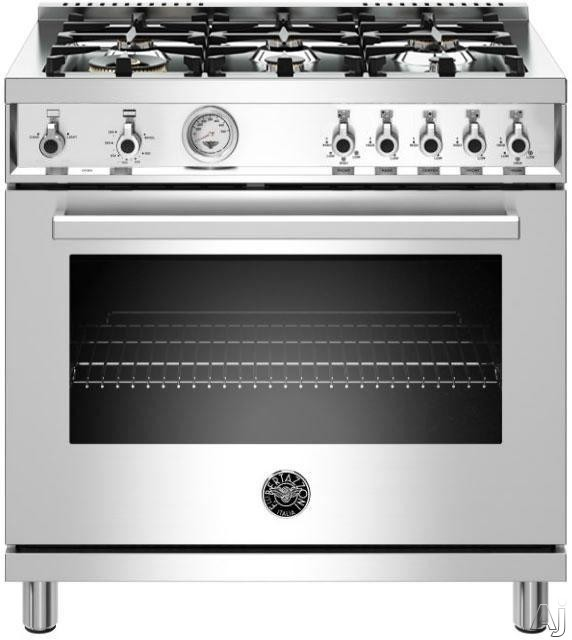 Image of Bertazzoni PROF366DFSXT 36 Inch Professional Series Dual Fuel Range with 6 Brass Burners, 5.7 cu. ft. Capacity, Self-Cleaning Mode, Convection Oven, Viewing Window and Cast Iron Grates: Stainless Steel: Stainless Steel