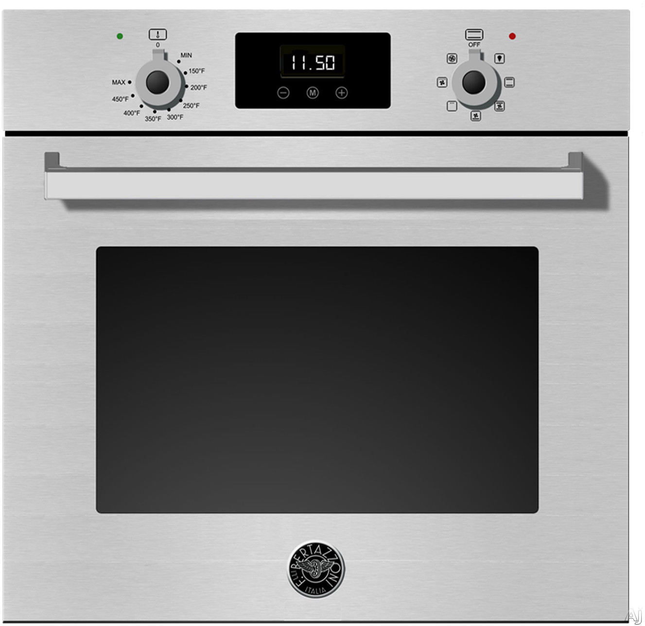 Bertazzoni Professional Series PROFS24XV 24 Inch Single Electric Wall Oven with Convection, Turbo, Touch Controls, LED Display, Defrost, Dehydrate and 2.3 cu. ft. Capacity
