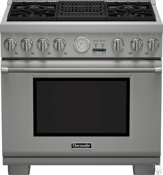 Thermador Pro Grand Professional Series PRX364NLG 36 Inch Pro-Style Gas Range with 4 Sealed Star Burners, 5.5 cu. ft. Convection Oven, Electric Grill, 22,000 BTU Power Burner, ExtraLow Simmer Burners, Telescopic Racks, Self-Cleaning Mode and Star-K Certif