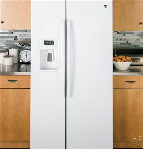 Ge Pse25kghww 25 4 Cu Ft Side By Side Refrigerator With 4 Glass Shelves Ice And Water