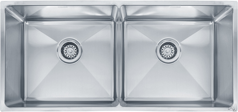 Franke Professional Series PSX120339 35 Inch Undermount Double Bowl Stainless Steel Sink with Polished Finish, 9 Inch Bowl Depths and 16-Gauge Stainless Steel