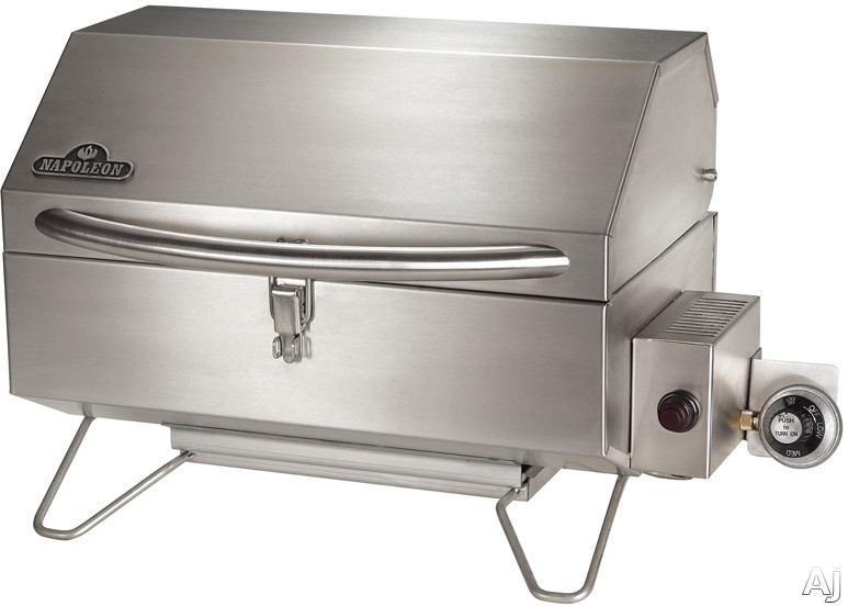 "Napoleon Freestyle Series PTSS215PI 26"" Portable Gas Grill with 320 sq. in. Cooking Surface, 14000 BTU Burner, QUICKSNAP Latching System and Folding Legs: Stainless Steel: Infrared Burner"