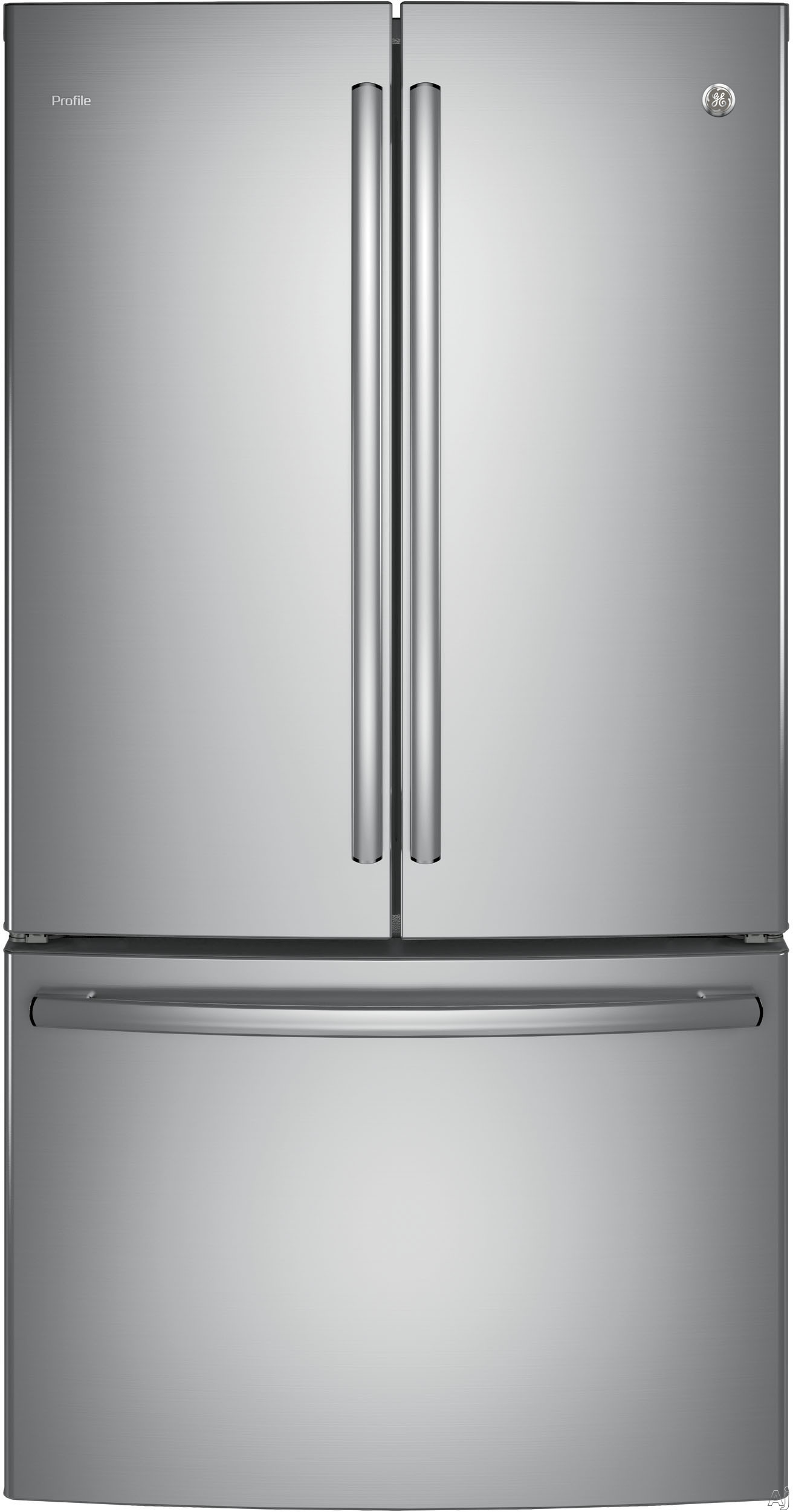 GE Profile PWE23KK 36 Inch Counter Depth French Door Refrigerator with Humidity Controlled Crispers, Temperature Controlled Drawer, Energy Star, 23.1 cu. ft. Capacity, Spill-Proof Glass Shelving, Gallon Door Storage, Ice Maker and Internal Water Dispenser