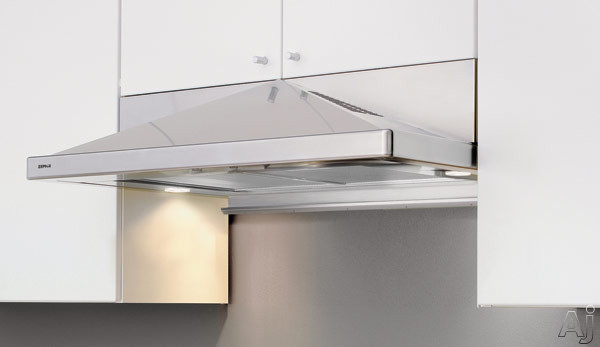 Image of Zephyr Europa Pyramid Series ZPYE30A 30 Inch Under Cabinet Range Hood with 400 CFM Internal Blower, 3 Speed Slide Control, 2 Halogen Lamps and Utensil Bar