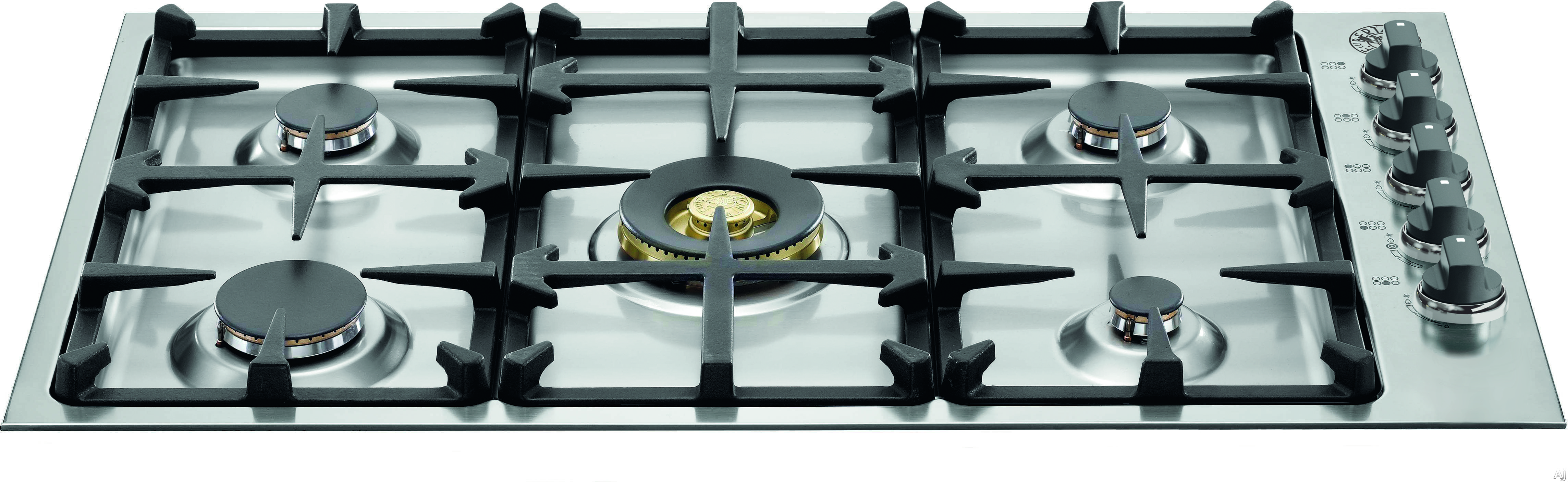Bertazzoni QB36M500XLP 36 Inch Gas Cooktop with 5 Sealed Brass Burners, 18,000 BTU Dual-Ring Power Burner, Continuous Cast Iron Grates and Electronic Ignition: Liquid Propane