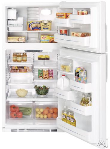 Ge Gts22khpww 21 7 Cu Ft Top Freezer Refrigerator With 4 Glass Shelves Gallon Door Storage