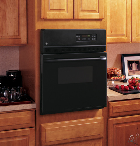 GE JRS06BJBB 24 Inch Single Electric Wall Oven with 2.7 cu. ft. Traditional Manual Clean Oven, Interior Oven Light and SmartSet Controls: Black
