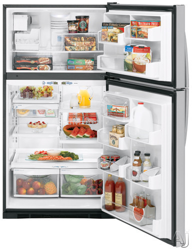 GE Profile PTS25SHSSS 24.6 cu. ft. Top-Freezer Refrigerator with ClimateKeeper System, 4 Glass, U.S. & Canada PTS25SHSSS