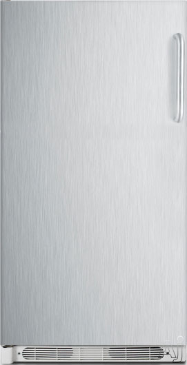 AccuCold R17FFSSTBLHD 16.5 cu. ft. All-Refrigerator with 4 Adjustable Wire Shelves, 5 Full-Width Door Bins, Interior Lighting, Dial Thermostat and Frost-Free Operation: Stainless Steel, Left Hand Door Swing
