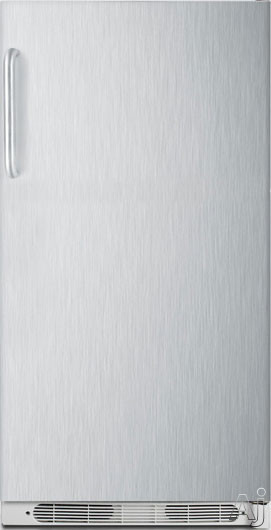 AccuCold R17FFSSTB 16.5 cu. ft. All-Refrigerator with 4 Adjustable Wire Shelves, 5 Full-Width Door Bins, Interior Lighting, Dial Thermostat and Frost-Free Operation: Stainless Steel, Right Hand Door Swing