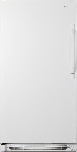 AccuCold R17FFLHD 16.5 cu. ft. All-Refrigerator with 4 Adjustable Wire Shelves, 5 Full-Width Door Bins, Interior Lighting, Dial Thermostat and Frost-Free Operation: White, Left Hand Door Swing