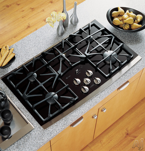 "GE Profile JGP970SEKSS 36"" Gas Cooktop with 5 Sealed Burners, Precise Simmer Burners, Gas-on-Glass, U.S. & Canada JGP970SEKSS"