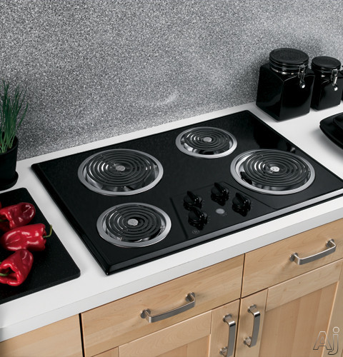 """GE JP328BKBB 30"""" Electric Cooktop with 4 Coil Elements, Removable Drip Bowls, Upfront Controls and, U.S. & Canada JP328BKBB"""