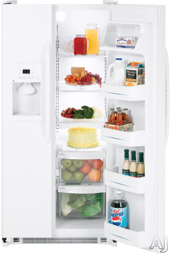 GE GSS20GEWWW 20.0 cu. ft. Side by Side Refrigerator with 3 Glass Shelves, Gallon Door Storage and, U.S. & Canada GSS20GEWWW