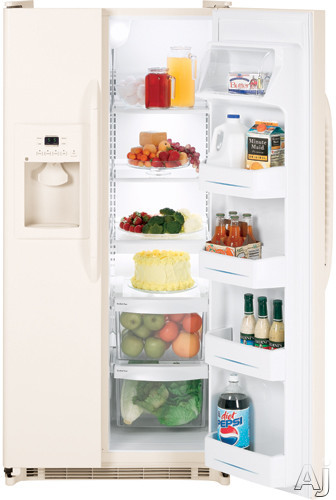 GE GSS20GEWCC 20.0 cu. ft. Side by Side Refrigerator with 3 Glass Shelves, Gallon Door Storage and, U.S. & Canada GSS20GEWCC