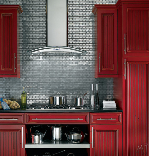 Monogram zv900slss 36 wall mount chimney range hood with for Grey kitchen cabinets with red walls