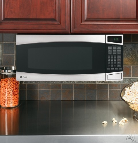 GE PEM31SMSS 1.0 cu. ft. Countertop Microwave Oven with 800 Watts, 10 Power Levels, 6 Sensor ...