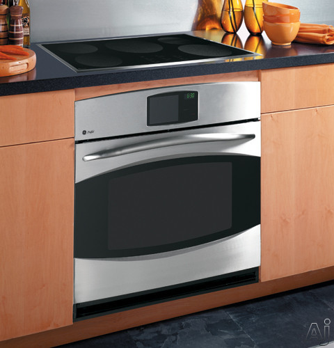 Black with Stainless Steel Trim Installed View Over Wall Oven