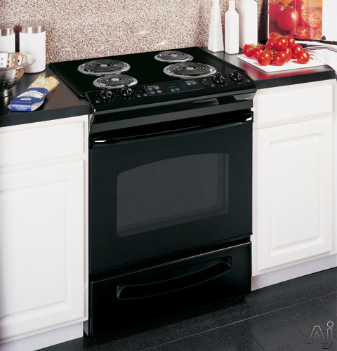 "GE JSS28DNBB 30"" Slide-in Electric Range with 4 Coil Elements, 4.4 cu. ft. Manual Clean Oven, Dual Element Bake, TrueTemp System, Storage Drawer and ADA Compliant: Black"