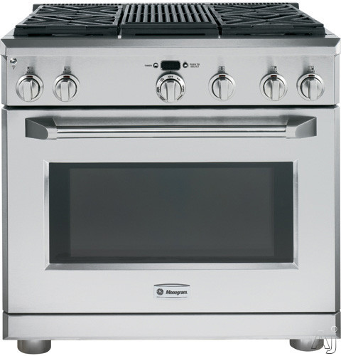 Monogram ZDP364NRPSS 36 Inch Pro-Style Dual-Fuel Range with 4 Sealed Dual Flame Stacked Burners, 5.75 cu. ft. Reverse Air/European Convection Oven, Infrared Grill, Glide Racks, Meat Probe and Star-K C