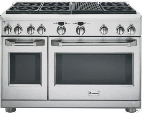 Monogram ZDP486NRPSS 48 Inch Pro-Style Dual-Fuel Range with 6 Sealed Dual Flame Stacked Burners, 5.75 cu. ft. Reverse Air/European Convection Oven, 2.5 cu. ft. Companion Oven, Infrared Grill, Glide Ra