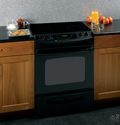 "GE JSP42DNBB 30"" Slide-in CleanDesign Electric Range with 4 Heating Elements, 4.4 cu. ft. Self-Clean, U.S. & Canada JSP42DNBB"