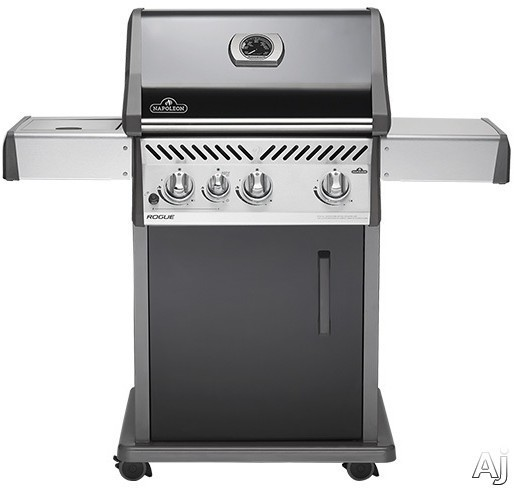 Napoleon Rogue Series R425SBNK 32 Inch Gas Grill with ACCU-PROBE, JETFIRE Ignition, WAVE Cast Iron Grid, 3 12,000 BTU Stainless Steel Tube Burners, 9,000 BTU Open Side Burner, Steel Cart, 535 sq. in.