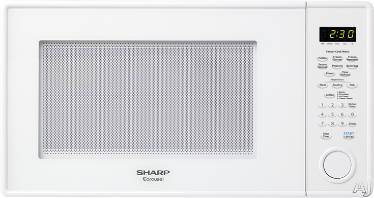Sharp R459YW 1.3 cu. ft. Countertop Microwave Oven with 1,000 Watts, Precise Cook Sensor Technology, Auto Defrost, Add 30 Seconds Key, 12 3/4 Inch Glass Turntable and Scratch-Resistant Glass Door: White R459YW