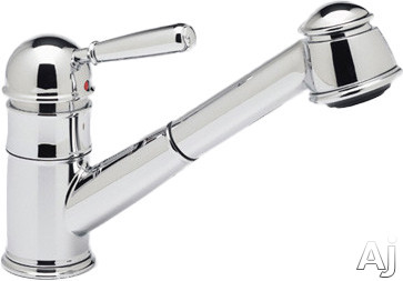 Rohl Country Collection R77V3APC Single Lever Pull-Out Kitchen Faucet with Metal Lever, Stainless Steel Coil, Anti-Scald Device and Ceramic Disc Cartridge: Polished Chrome
