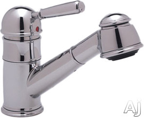 Rohl Country Collection R77V3S Single Lever Pull-Out Bar Faucet with Short Handspray, Metal Lever, Stainless Steel Coil, Anti-Scald Device and Ceramic Disc Cartridge