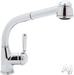 Rohl Country Collection R7903LM Single Lever Pull-Out Kitchen Faucet with Metal Lever, Stainless Steel Coil, Anti-Scald Device and Ceramic Disc Cartridge