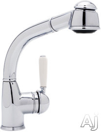 Rohl Country Collection R7903SLMSTN Single Lever Pull-Out Bar Faucet with Short Handspray, Metal Lever, Stainless Steel Coil, Anti-Scald Device and Ceramic Disc Cartridge: Satin Nickel