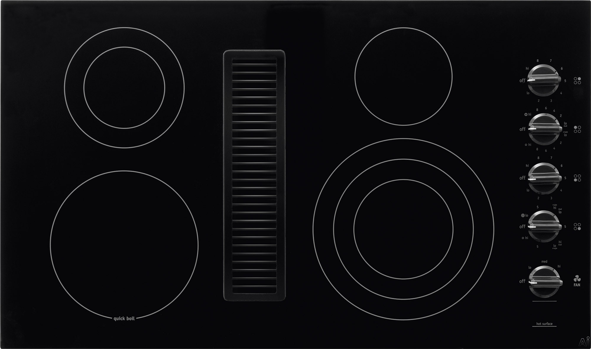 Frigidaire RC36DE60PB 36 Inch Electric Cooktop with 4 Smoothtop Burners, Downdraft Ventilation System, 500 CFM Fan, PowerPlus Boil Burner and Ready-Select Control Knobs