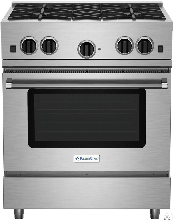 BlueStar Culinary Series RCS304BV2 30 Inch Stainless Steel Gas Range with 4 Open Burners, Simmer Burner, Large Capacity Convection Oven, Infrared Broiler, Removable Drip Tray and Seamless Control Pane