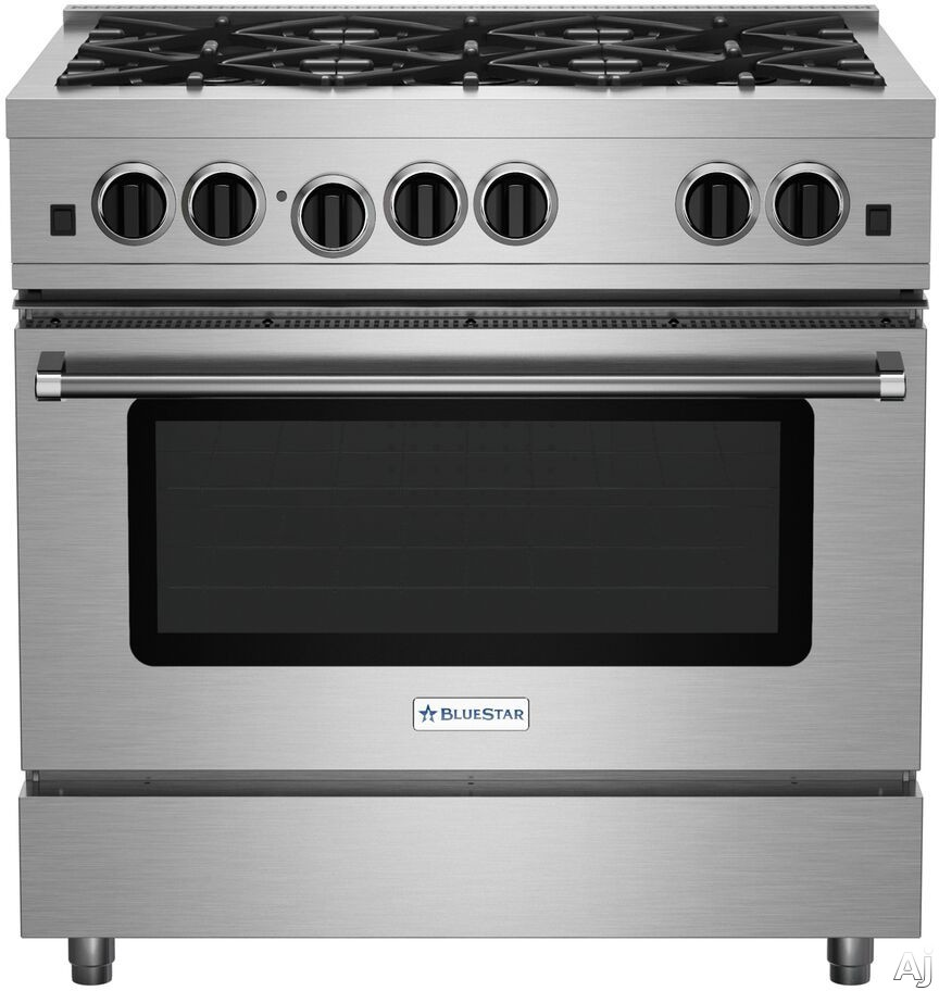 BlueStar Culinary Series RCS366BV2 36 Inch Stainless Steel Gas Range with 6 Open Burners, Commercial Grade 1850°F Infrared Broiler, Handcrafted in Pennsylvania since 1880 and 5.0 cu. ft. Convection