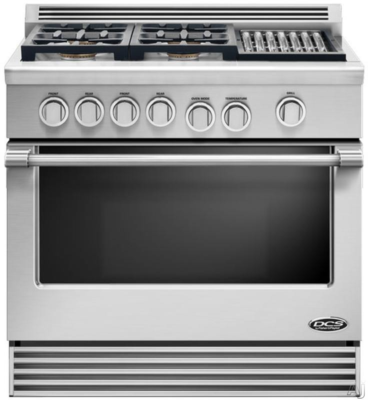 """DCS Professional Series RDV364G 36"""" Pro-Style Slide-In Dual Fuel Range with 4 Sealed Burners, 4.7 cu. ft. Self-Cleaning Oven, 5 Adjustable Extension Telescopic Racking System and Illuminated Knobs"""
