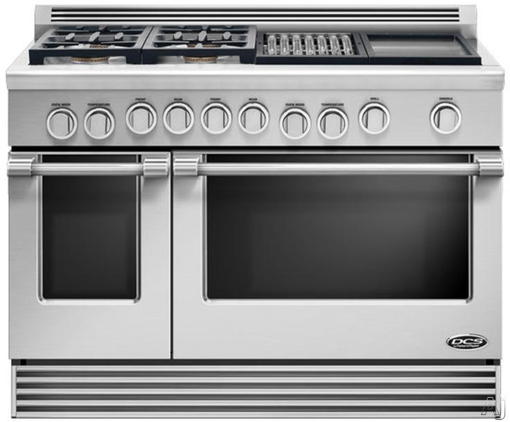 DCS Professional Series RDV484GG 48 Inch Pro-Style Slide-In Dual Fuel Range with 4 Sealed Burners, 6.7 cu. ft. Self-Cleaning Oven, 5 Adjustable Extension Telescopic Racking System, 18,000 BTU Griddle and 12,000 BTU Grill
