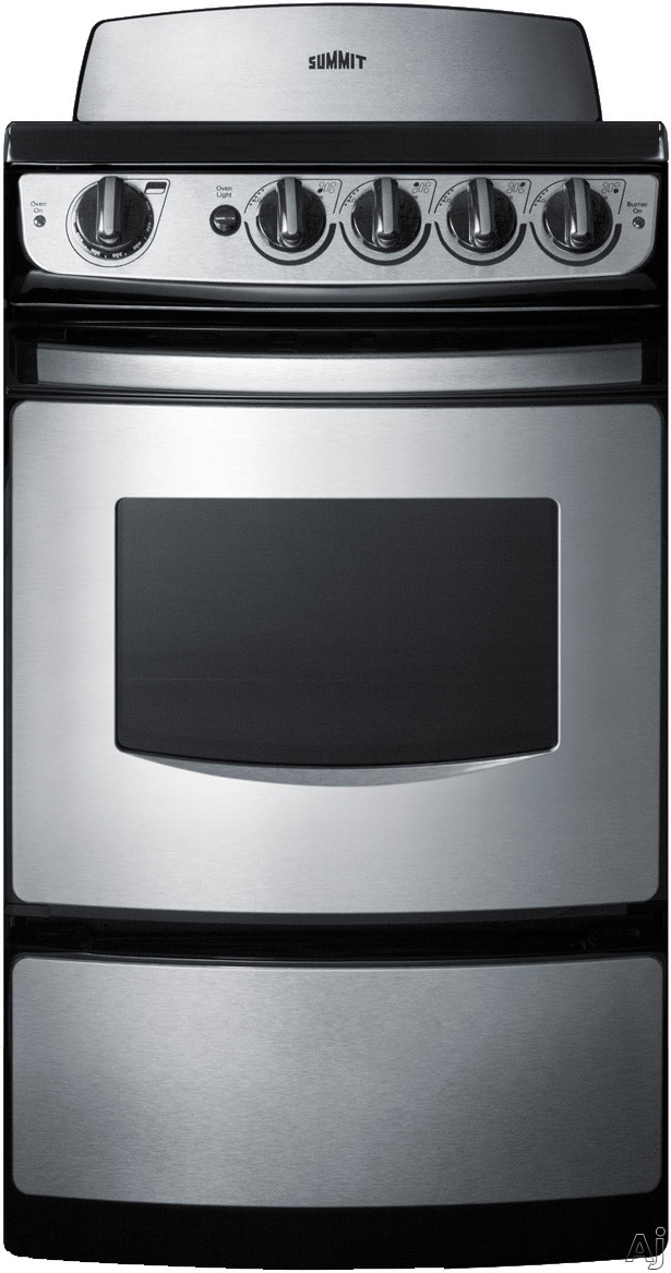 Summit REX207SS 20 Inch Smoothtop Electric Range with Oven Broiler, Pan and Grill, 4 Burners, 2.4 cu. ft., 2 Oven Racks and Push Control Knobs: Yes Backguard