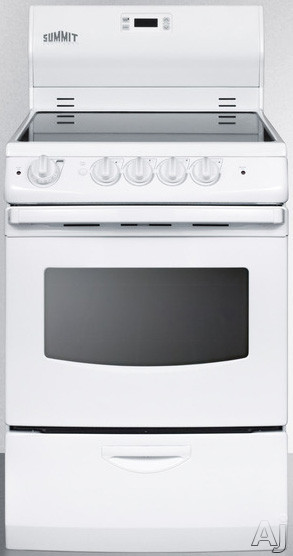 Summit REX242W 24 Inch Freestanding Smoothtop Electric Range with 3.0 cu. ft. Capacity, 4 Radiant Elements, Waist-High Broiler, Indicator Lights and Storage Drawer: White