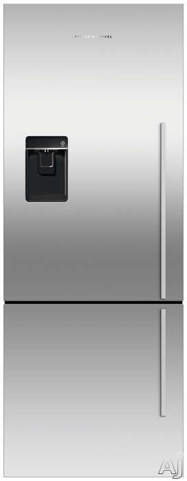 Fisher & Paykel Active Smart RF135BDLUX4N 25 Inch Counter Depth Bottom-Freezer Refrigerator with 13.5 cu. ft. Capacity, 2 Adjustable Glass Shelves, ActiveSmart Technology, Humidity Control System, Sabbath Mode, External Water Dispenser and Ice Maker: Lef