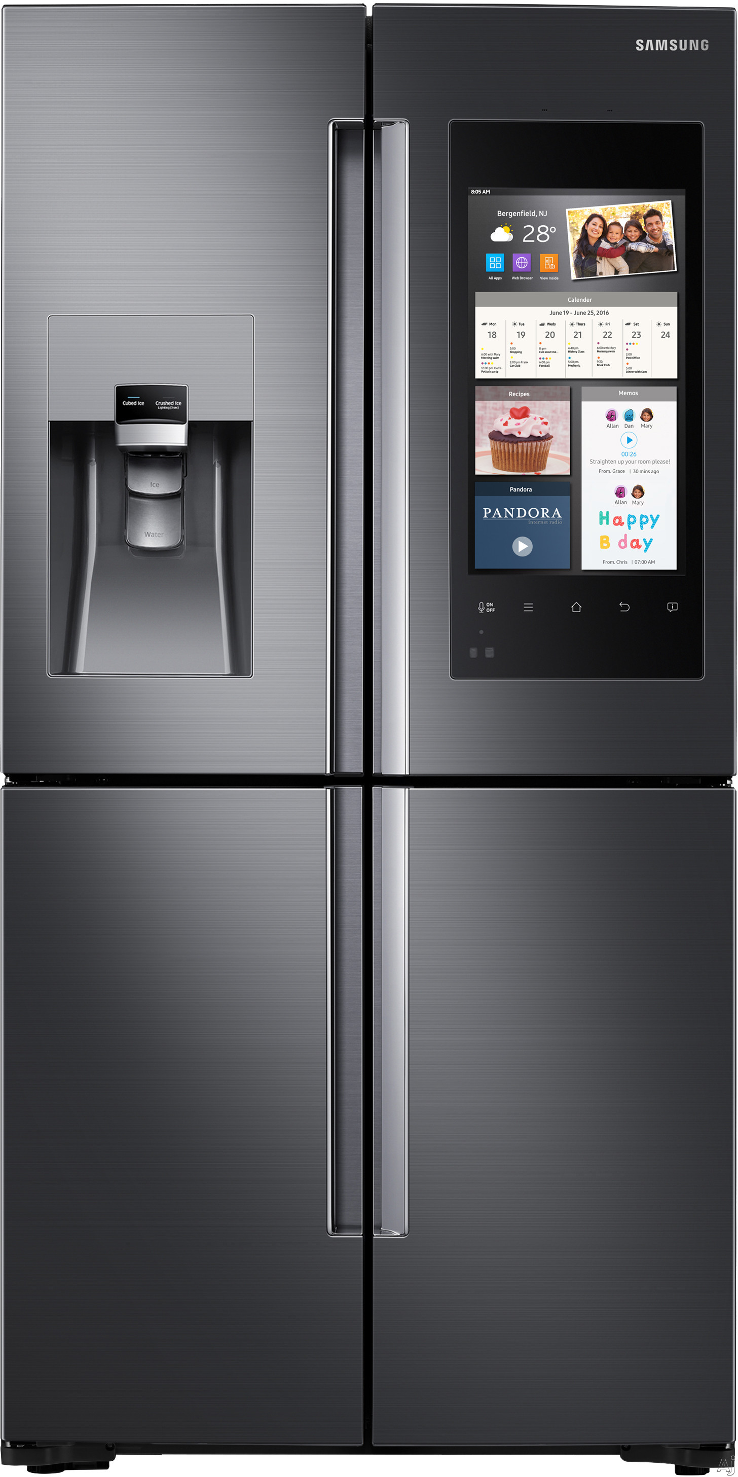 Samsung RF22M9581S 36 Inch Counter Depth 4-Door French Door Refrigerator with Family Hub™, Built-In Cameras, FlexZone™, Filtered Ice and Water Dispenser, Tempered Spill-Proof Shelves, Wine Rack, Gallon Door Storage, ENERGY STAR® and 22 cu. ft. Capaci