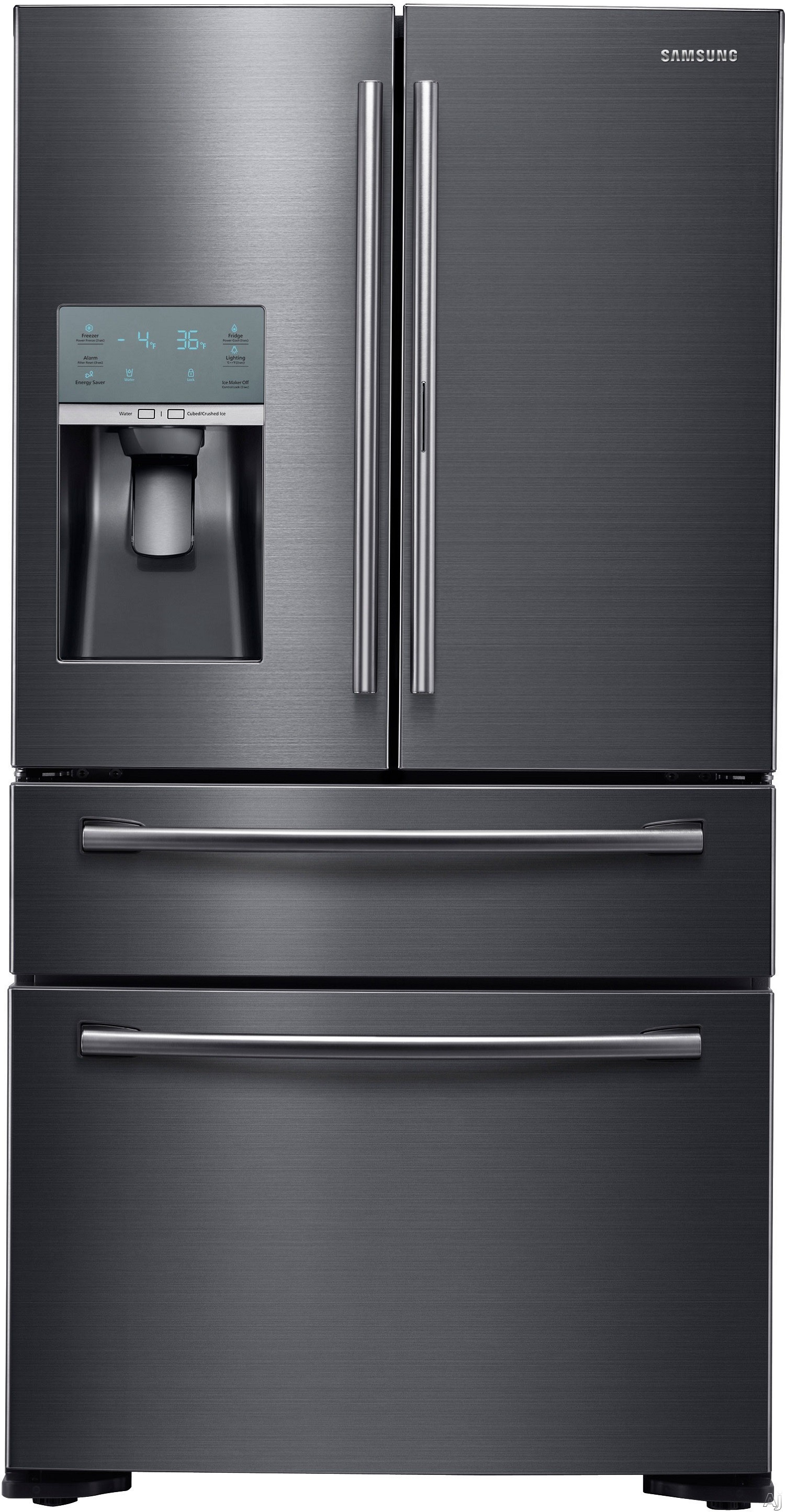 Samsung RF22KREDBSG 36 Inch Counter Depth 4-Door French Door Refrigerator with 4-Temperature FlexZone Drawer, Food Showcase Door, Twin Cooling Plus, 22.4 cu. ft. Total Capacity, Large Freezer Drawer, Ice Master Ice Maker and External Water/Ice Dispenser: Black Stainless Stee