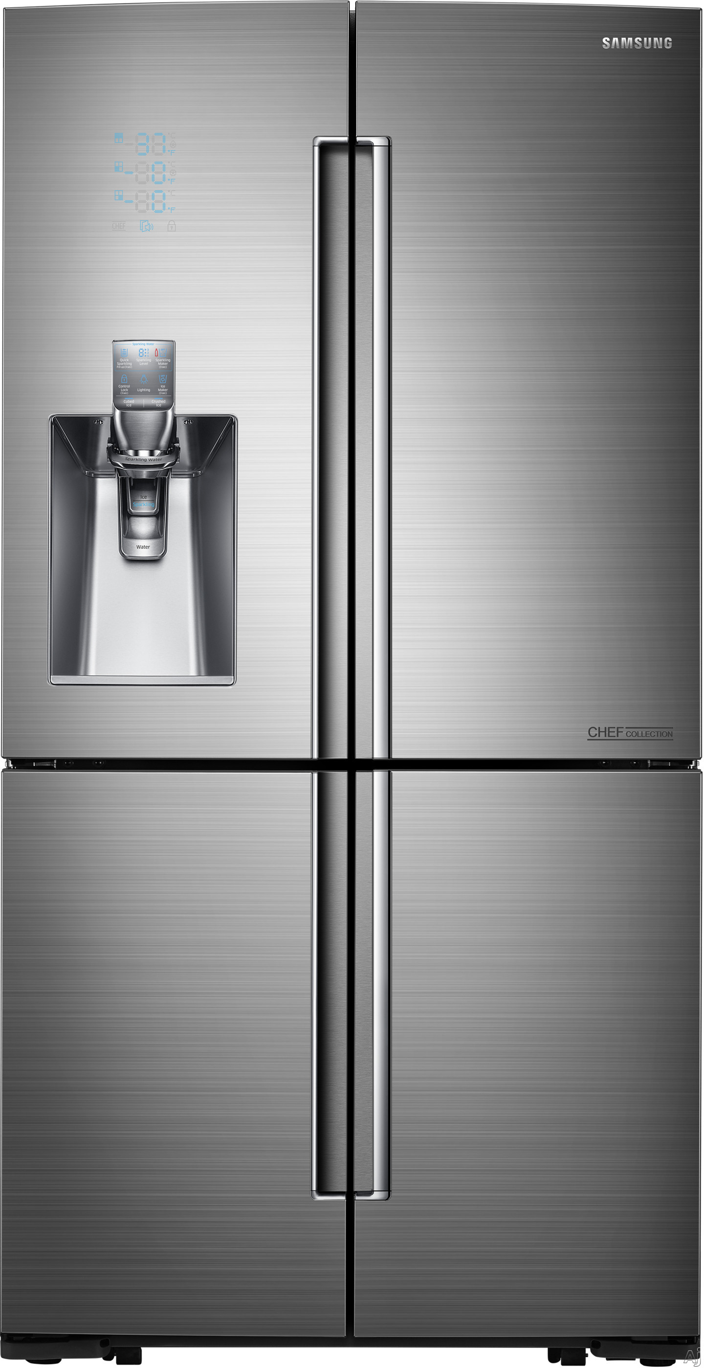 Image of Samsung Chef Collection RF24J9960S4 36 Inch Counter Depth 4-Door French Door Refrigerator with 24.1 cu. ft. Capacity, 4 Door Flex, Flex Zone, Chef Pantry, Sparkling Water Feature, External Water and Ice Dispenser, 4 Pillar Lighting and Energy Star Qualifi