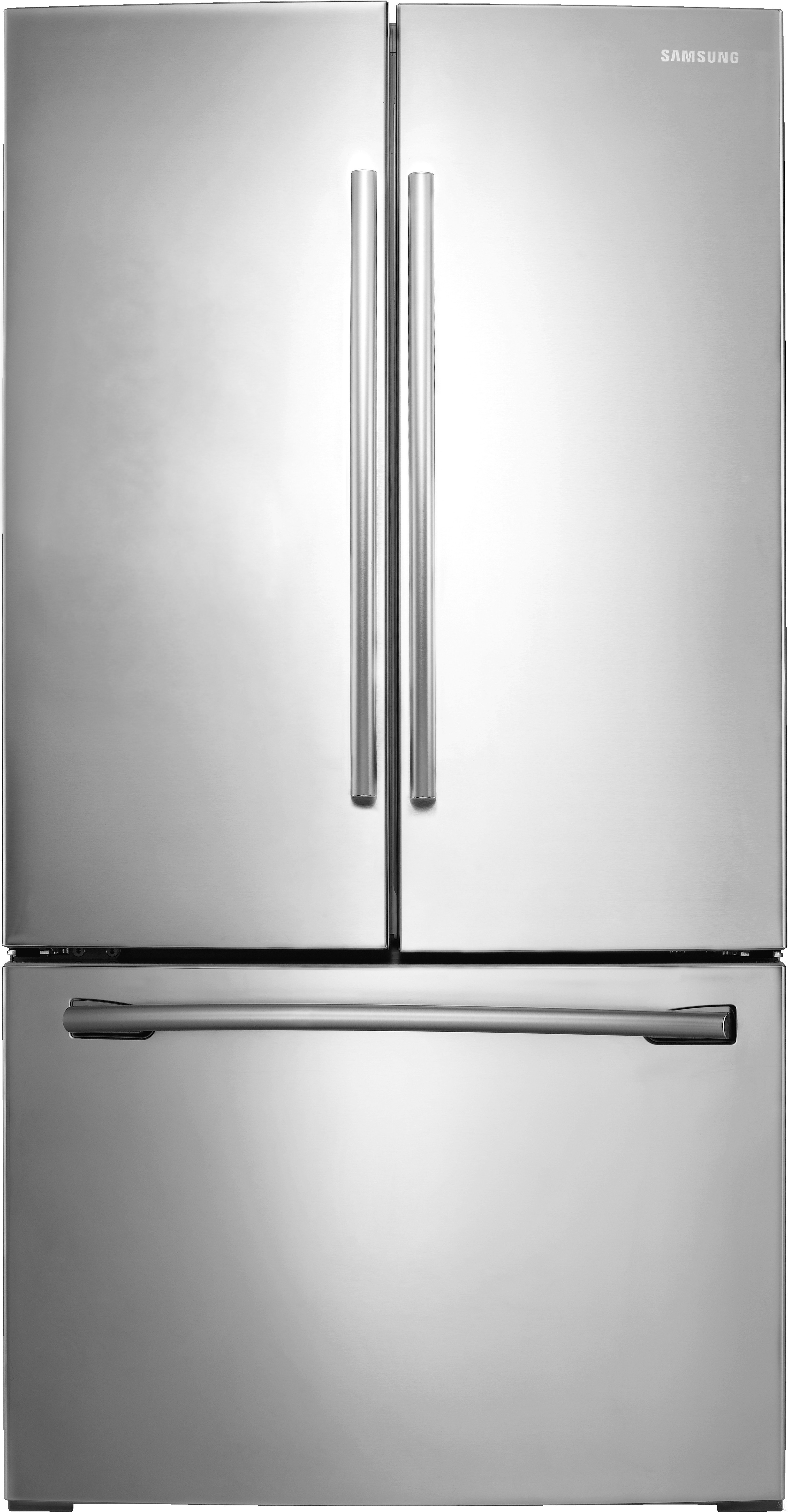 Samsung RF26HFEN 36 Inch French Door Refrigerator with Twin Cooling, Filtered Ice Maker, Power Cool, Power Freeze, 6 Gallon-Capacity Door Bins, ENERGY STAR, Spill Proof Glass Shelves, Surround Air Flow and 25.5 cu. ft. Capacity