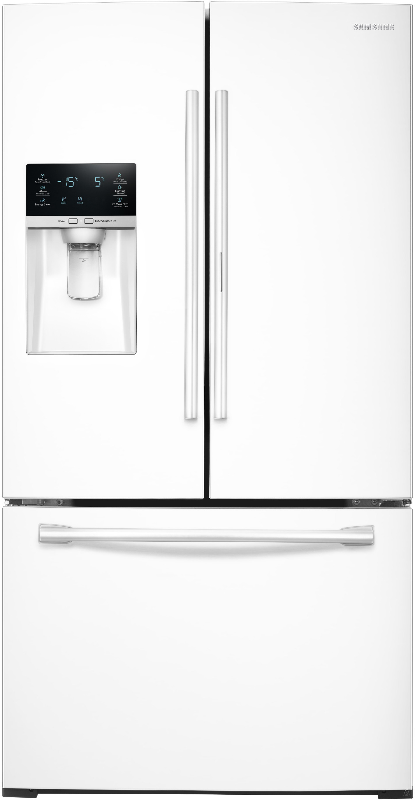 Samsung RF28HDEDPWW 27.8 cu. ft. French Door Refrigerator with 5 Spillproof Glass Shelves, Food ShowCase Fridge Door, Metal Cooling, External Ice/Water Dispenser, CoolSelect Pantry and Humidity Controlled Crispers: White