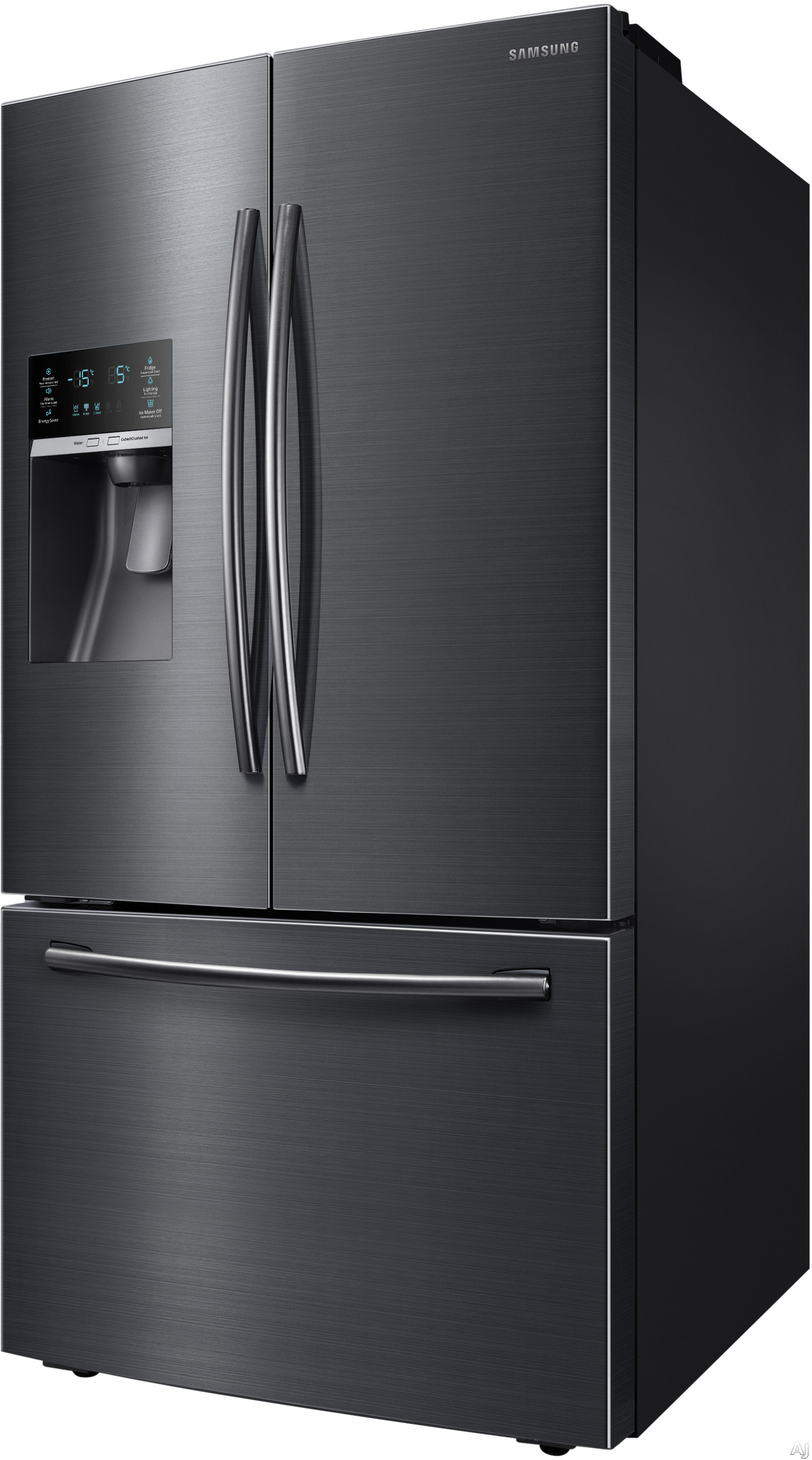 Samsung RF28HFEDBSG 36 Inch French Door Refrigerator with CoolSelect Pantry, Twin Cooling Plus, Ice Master, 28 cu. ft. Capacity, 4 Adjustable Glass Spill-Proof Shelves, LED Lighting, External Water/Ice Dispenser and Energy Star Qualified: Black Stainless Steel
