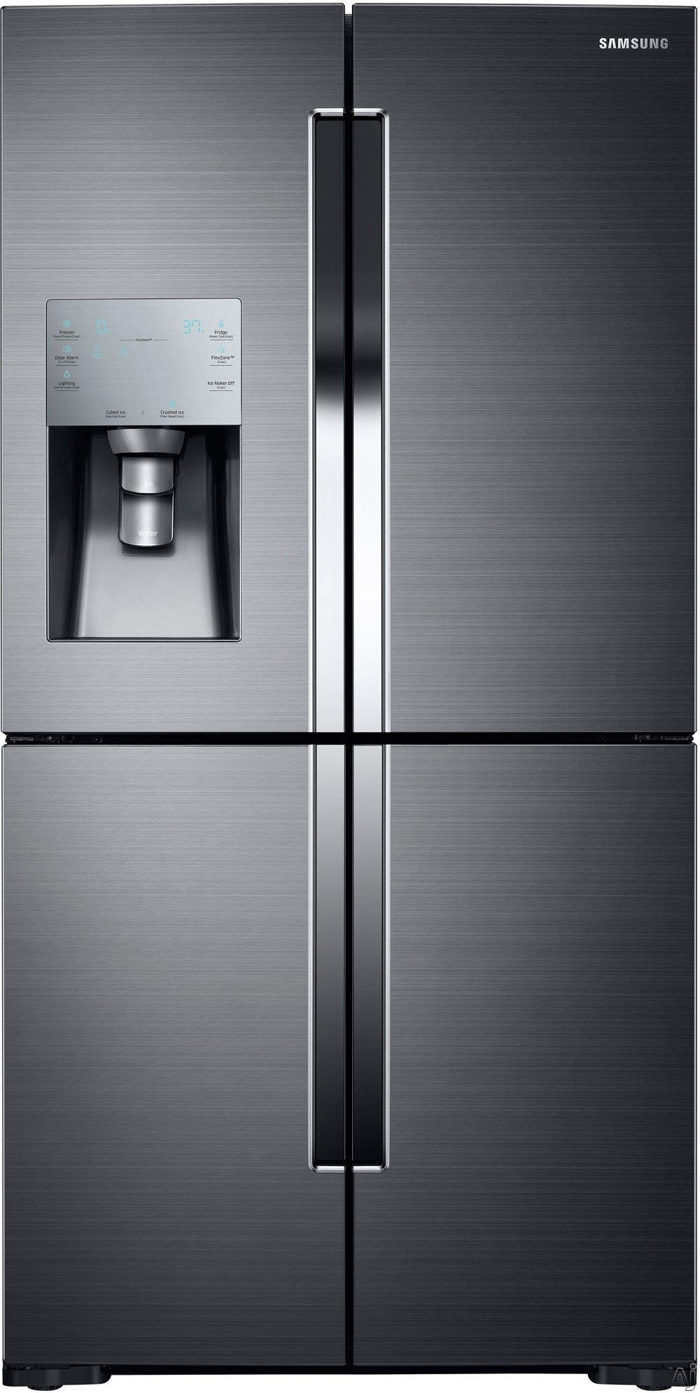 Samsung RF28K9070 36 Inch 4-Door French Door Refrigerator with 28.1 cu. ft. Total Capacity, 4-Temperature FlexZone Compartment, 4 Glass Shelves, Triple Cooling System, Ice Master Ice Maker, External Water/Ice Dispenser and Energy Star Rated