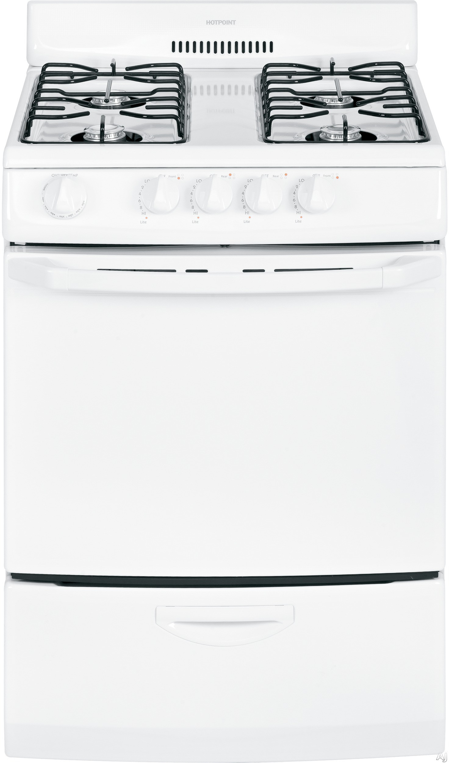 """Hotpoint RGA720EKWH 20"""" Freestanding Gas Range with 4 Open Burners, Electronic Pilotless Ignition, Continuous Grates, 2.4 cu. ft. Manual Clean Oven and Broiler Drawer"""